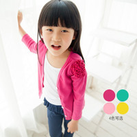 Wholesale Free amp Drop Shipping Autumn Spring Children s Cardigans Outwear Grils Ribbed Thin Coat Shoulder Ruffles Colors Kids