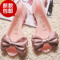 Wholesale Paypal alipay High quality silk bow jelly shoes candy color flat sandals slip resistant open toe sandals female