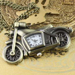 Wholesale motorcycle Cartoon quartz pocket watch Bronze vine jewelry long sweater chain pendant necklace for boy men child skull clock