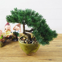 Cheap Wholesale-China guest-greeting pine tree+porcelain masterpieces Artificial plants tree decorative bonsai fake plant leaf on the desk