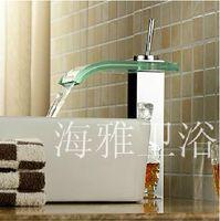 Wholesale FedEx Glass Waterfall Bathroom Sink Faucet Glass Spout H31095
