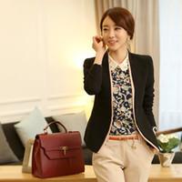 Cheap Wholesale-chaquetas mujer Korea Fashion Design Business Ladies Elegant Black Casual Slim Suits Jackets Blazer Coat For Women Free Shipping