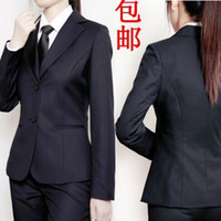 Cheap Wholesale-Women's office work wear suits, dark blue women's tooling black formal suit plus size,business suit blazers