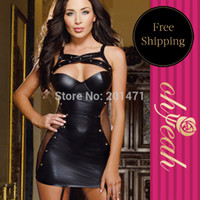 Wholesale R7859 Solid Black Hollow Out On The Chest Sheath Sexy Underwear Plus Size Leather Dress
