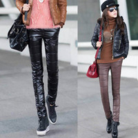 Wholesale Plus thick warm velvet trousers Korean Slim PU imitation leather pants down pants pants female feet pencil pants winter clothes