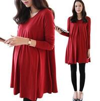 Wholesale Fashion Maternity Dress Pregnancy Clothes XL for Pregnant Women Female Plus Size Maternity Dresses Gravida Vestidos Long Sleeve