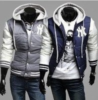 Wholesale Hot Men s Jackets BNWT Varsity Letterman College Baseball Cotton Jackets Color Navy Gray Size M XXX