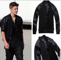 Wholesale Justin Bieber Outerwear Baseball Jacket For Men New Casual Leather Jerseys Sports Clothes Cotton Decratin Sweatshirts