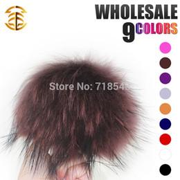 Wholesale-homies wholesale 13-14cm raccoon fur pom poms luxurious fur cap with fur balls more colours available mink pompom hats & caps