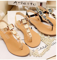 belle clip - fashion Bohemian heel clip toe flat sandals women s sweet little shoe belle color female sandals flip flops
