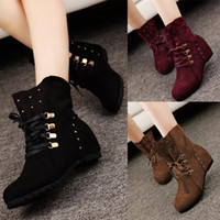 Wholesale Womens Western Boots Faux Suede Lace Up Cleated Spike Cowboy Boots For Women Fashion Flats Boots Casual Ladies Shoes