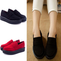 creepers - XWK010 New Women Shoes Flat Creepers Slip on Spring Autumn Creeper Shoes Solid Color Shoes Woman Flats