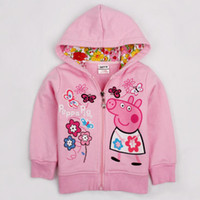 Wholesale New Nova baby clothing outwear cotton baby girls kids jackets coats outwear peppa pig Children Hoodies F4329