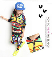 Wholesale Boy and girls clothing set Children hoody outerwear sportswear hip hop dance costumes pants and sweatshirts hiphop Punk Rock
