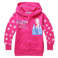 Wholesale New Hot Sell HOT Kids apparel Princess Elsa Cartoon Cotton Children Hoodies for Girls Winter baby Tops Clothing Red