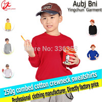 Wholesale long sleeve warm sweatshirt with crewneck children sports costumes grey yellow white red blue blank hoodies tracksuits