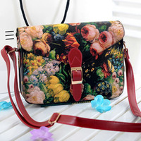 Wholesale New Women s Leather Messenger Bag Ladies Small Flower Oil Painting Bags Printing Black Red Bag Vintage Belt Freeshipping