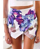 Wholesale Fashion LOVEGIRL Flower Print shorts Asymmetrical Skirt Shorts Summer Flower Print Hot Pants Women Brand Pom Short Feminino