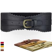 Wholesale New Fashion cm wide Women Lady Europe Black Faux Leather Hollow out Flower Brim Elastic Stretch Waist Belts
