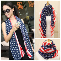 pashmina shawls - Women Unisex USA Stars Stripes American Flag Shawl Wrap Pashmina Fashion Elegant all match ultra Long Chiffon Scarf for women H6030