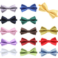 mens neckwear - 14 Colors Classic Male Femal Bowtie Fashion Solid Color Neckwear Unisex Mens Women Bow Tie Polyester CM Colors GA4008