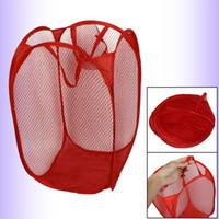 Wholesale Household Dirty Clothes Laundry Folding Mesh Bag Basket Holder Red