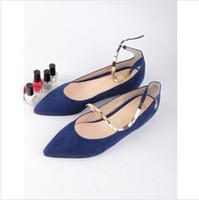 Wholesale hot sale new fashion women shoes casual ballerinas flats ballet buckle strap black blue Euro L0623