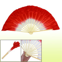 chinese dance fans - Beige Bamboo Ribs Flutter Fabric Chinese Folk Dancing Hand Fan Red White