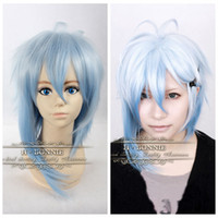 amnesia cosplay - 2014 New Product Ikki Cosplay Male Short Ice Blue Ombre Wig Amnesia Cosplay Heat Resistant Wigs