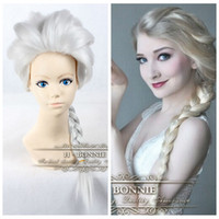Cheap Brand New Long Silver White Halloween Wigs for Women Snow Queen Frozen Elsa Wig Adult Anime Cosplay Heat Resistant Costume Wigs