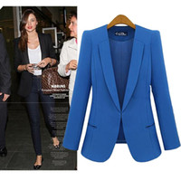 Cheap Wholesale-S-4XL Big Size Women's Black Blazers, Spring Autumn Lady Fashion Plus Size Blue Slim Business Suits, Oversized Female Clothing