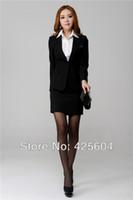 Cheap Wholesale-2015 New Spring Professional Women's Formal Career Suits Business Women Work Wear Office Suits Plus Size XXXL Black