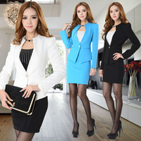 Cheap Wholesale-New Arrival 2015 Fashion Women Work Wear Set Candy Color Ladies Business Suits Stand Collar Blazer Black Skirt Large Size