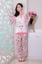 Wholesale cotton long sleeve cartoon knife dog nightgown pajamas sets women nightwear and retail