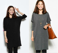 Wholesale new maternity winter Thicken clothing loose skirt plus size autumn long sleeve dress clothes for pregnant women dresses