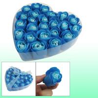 Wholesale 24 Blue Scented Bath Soap Rose Petal in Heart Box