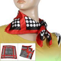 Wholesale Red Stitched Brim Dot Prints Square Neckerchief for Women