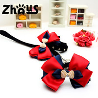 Wholesale ZQQS068 AB The favourable pet collar dog collar and leash suit mass artificial pearl inlayed blue and red bowknot
