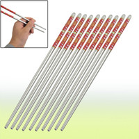Wholesale Tapered Chinese Chopsticks Stainless Steel Dishware Silver Tone