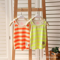 Wholesale Summer Korean boys and girls Fluorescence Modal fabric striped vest children s clothing children s tank top