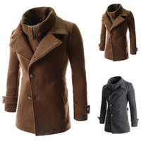 Cheap 2014 New Winter For Men Oblique Placket Removable Fake Two Pieces Sing Breasted Wool Coats Manteau Homme