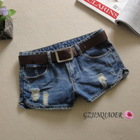 Cheap Jeans woman short jeans ripped split placketing summer new S-XXL mid-waist sexy water wash hole pants comfortable shorts skinny denim jeans