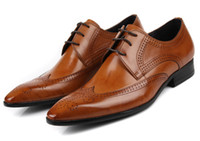 Wholesale Luxurious Handsome cowhide Leather brown mens dress shoes genuine leather mens business shoes wedding shoes oxfords shoes