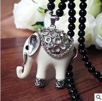 bangkok jewelry - Ivory white Bangkok elephant pendant necklaces fashion sweater chain jewelry for women