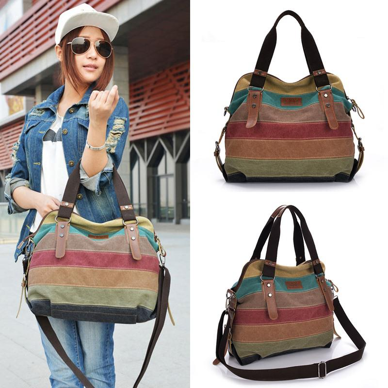 2016 New Canvas Color Block Women Handbag Shoulder Bags Striped ...