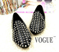 Wholesale Ladies Women Black Loafers Shoes Flat Spike Punk Studded Point Rivets Metal