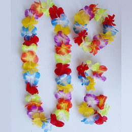 Wholesale Sets X Hawaiian Flower Lei Headband Anklet Fancy Dress Hula Party Decoration