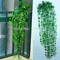 Wholesale feet Green Artificial Ivy Leave Plants Vine Fake Foliage Flowers Home