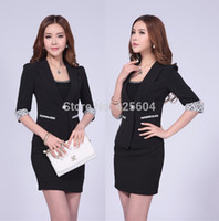 Cheap Wholesale-Plus Size S-XXXL Novelty Black 2015 New Professional Business Women Career Suits With Skirt Formal Office Suits Blazer Sets