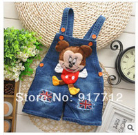 Wholesale Asia Pacific Boutique Children boys and girls baby cotton overalls casual denim strap shorts pants